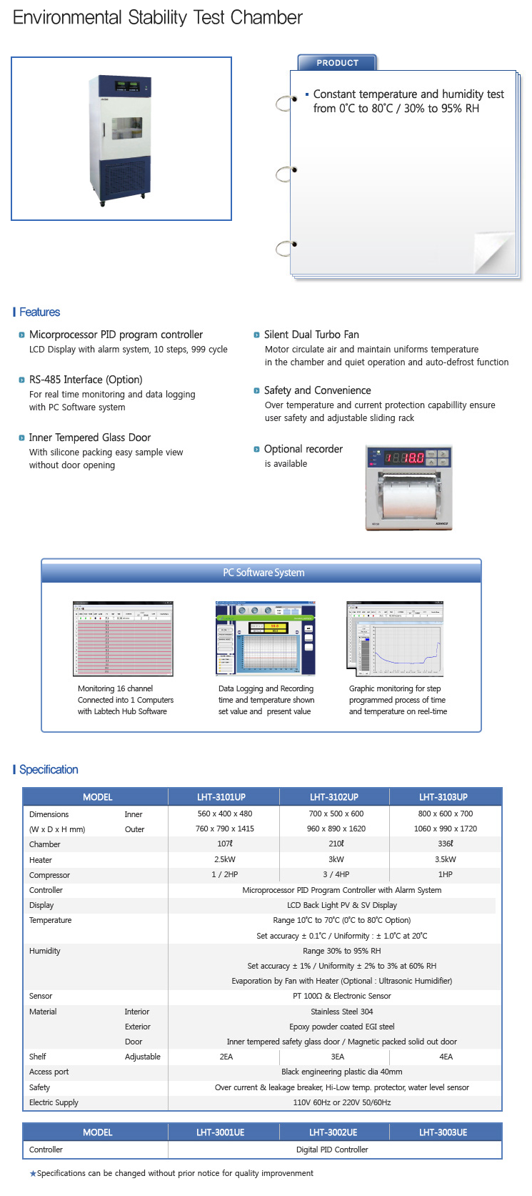 LABTECH Environmental Stability Test Chamber LHT-UP/UE-Series