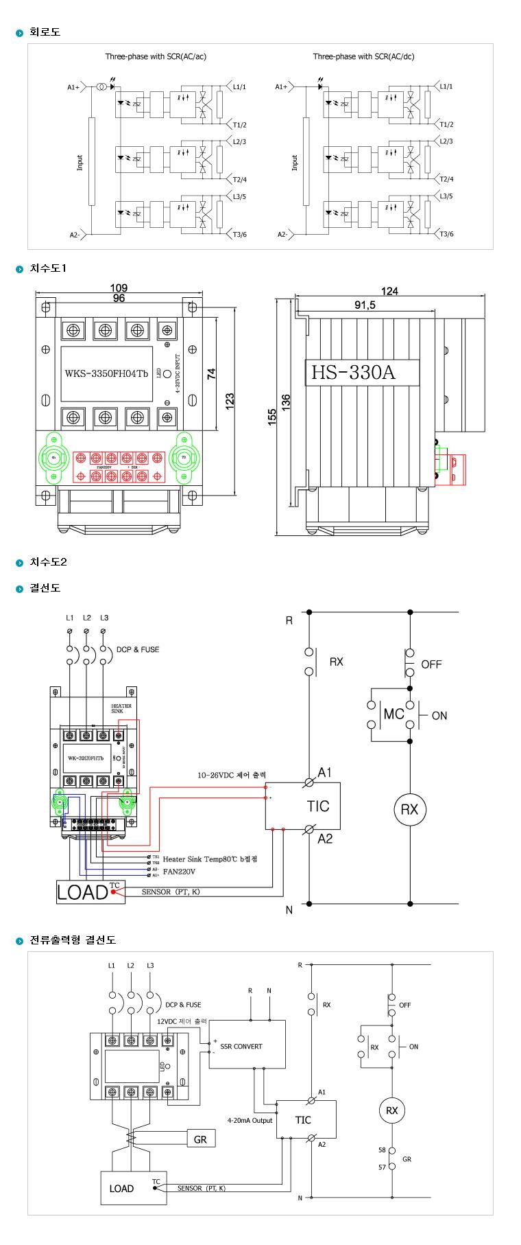 (주)삼화디에스피 삼상 3회로 및 단상2회로차단형 H-Type (AC출력/DC입력 일체형) WKS-3350HF04 2