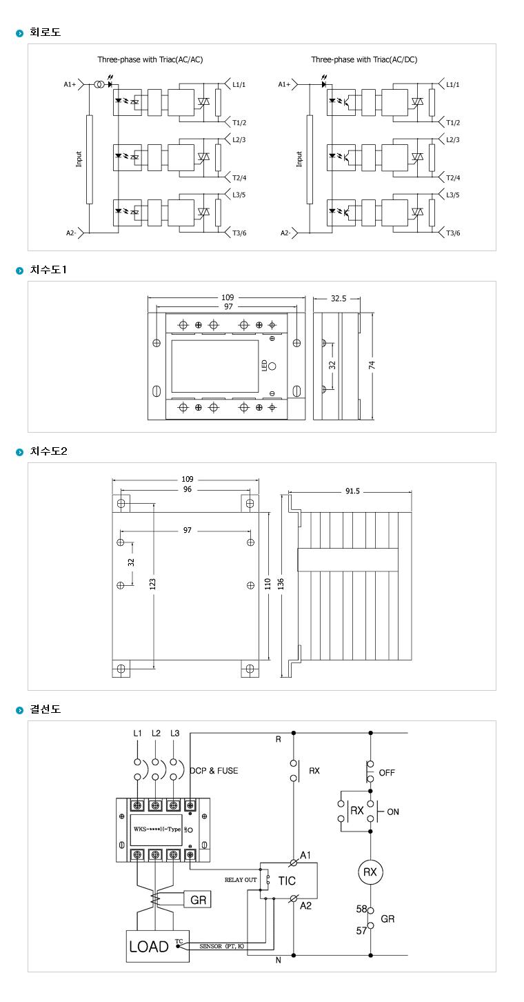 (주)삼화디에스피 삼상 3회로 및 단상2회로차단형 H-Type (AC출력/AC입력) WKS-3240HAC 5