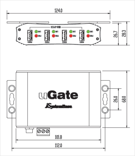 SystemBase Industrial USB Hub uGate-400H 1