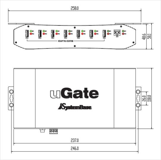 SystemBase Industrial USB Hub uGate-701F 1
