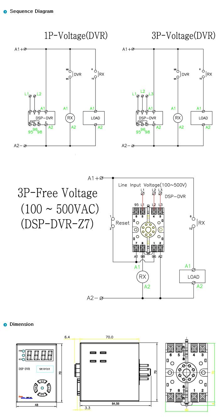 SamWha DSP 3Φ Digilog Over & Under voltage protection relay DSP-DVR/DVR-M 1