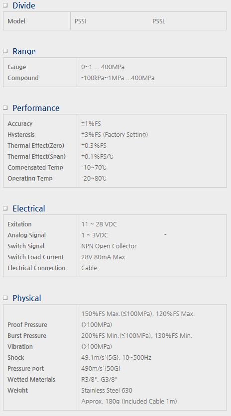 Sensor System Technology Pressure Switch PSS