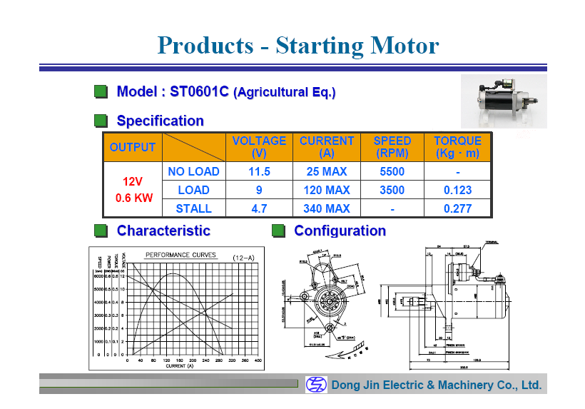 DongJin Electric&Machinery 0.6KW Starter Motor ST0601C