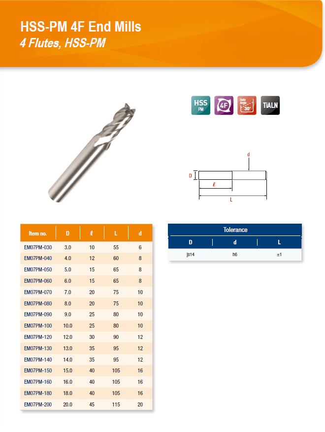 DYC Total Tools HSS-PM 4F End Mills 4 Flutes, HSS-PM EM07PM Series