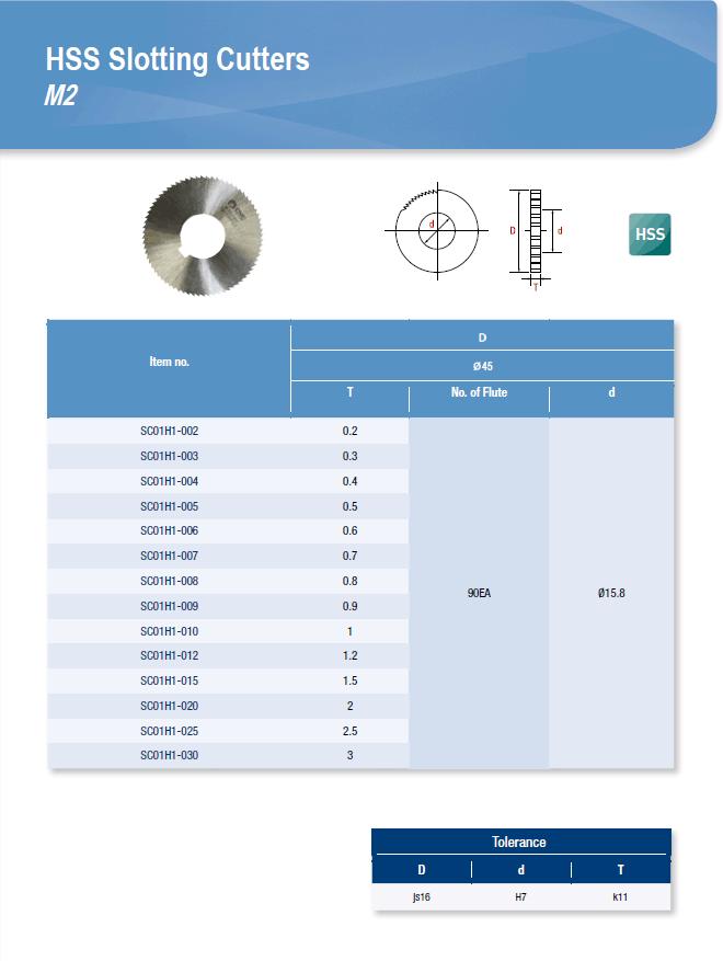 DYC Total Tools HSS Slotting Cutters M2 SC01H1 Series