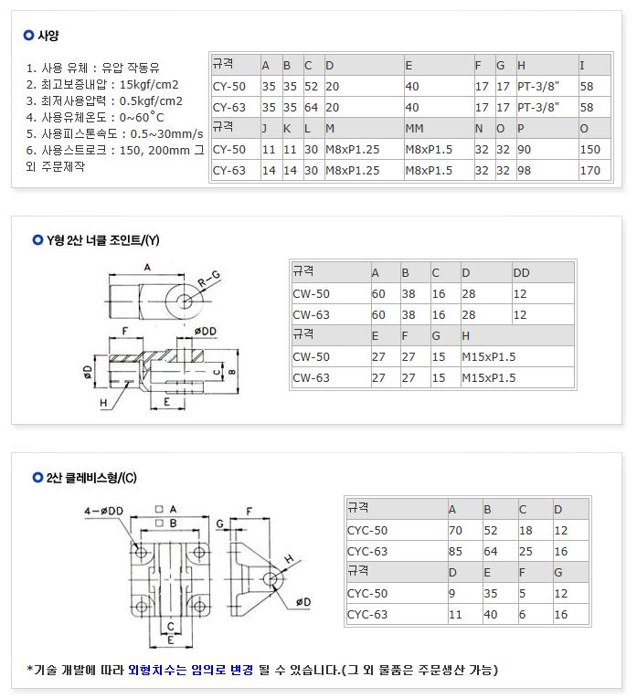 한성전자 실린더 및 악세서리 CY-50/63