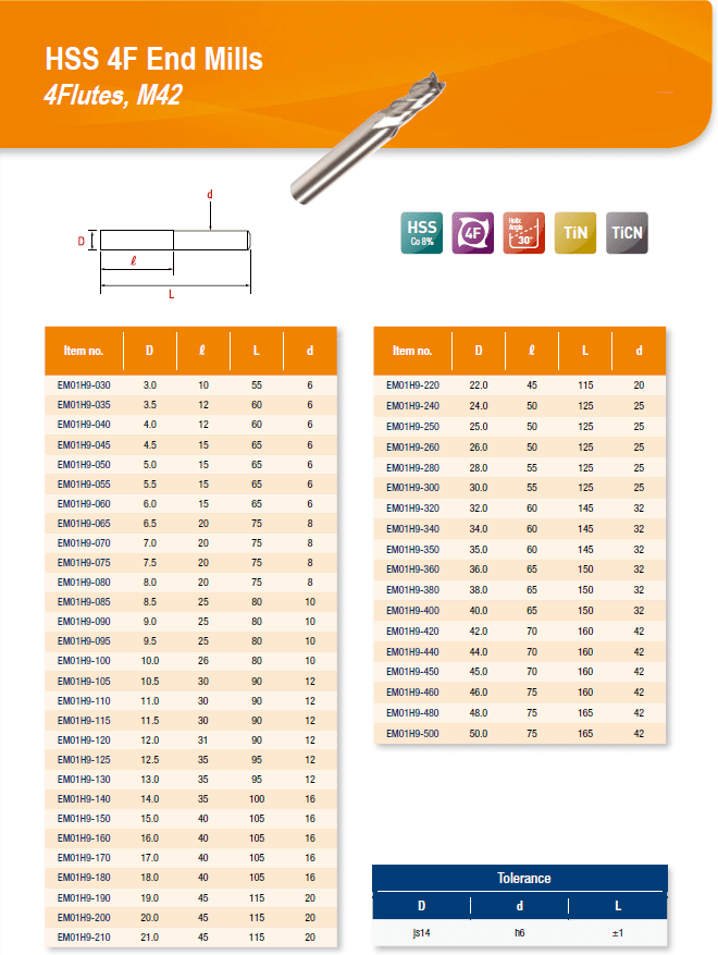 DYC Total Tools HSS 4F End Mills 4Flutes, M42 EM01H9 Series