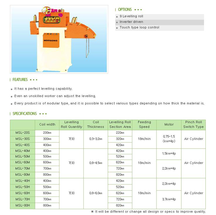 Moosong Machinery Unit Leveller MSL-Series