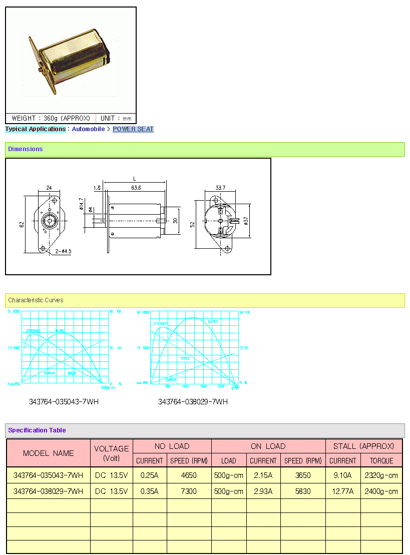 KOREA I.G Motor  343764 Series B