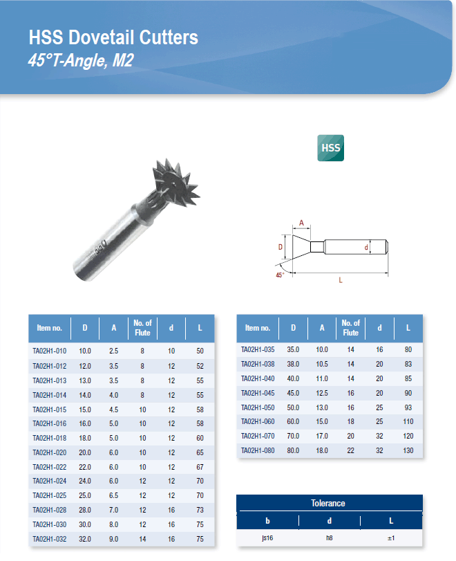 DYC Total Tools HSS Dovetail Cutters 45°T-Angle, M2 TA02H1 Series