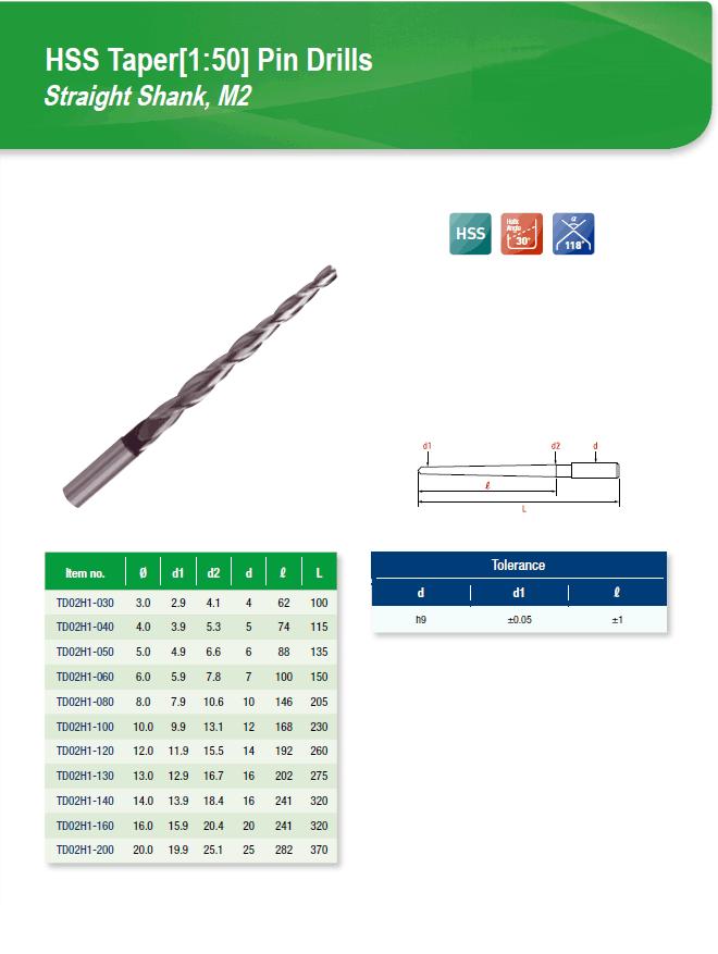 DYC Total Tools HSS Taper(1:50) Pin Drills Straight Shank, M2 TD02H1 Series