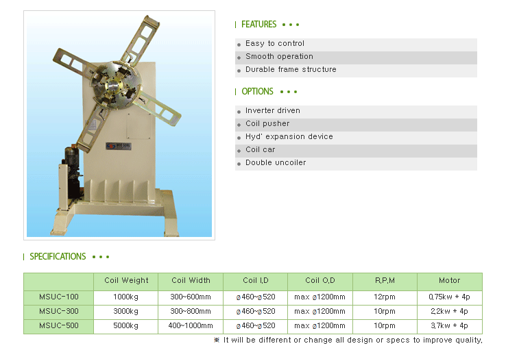 Moosong Machinery UnCoiler MSUC-Series