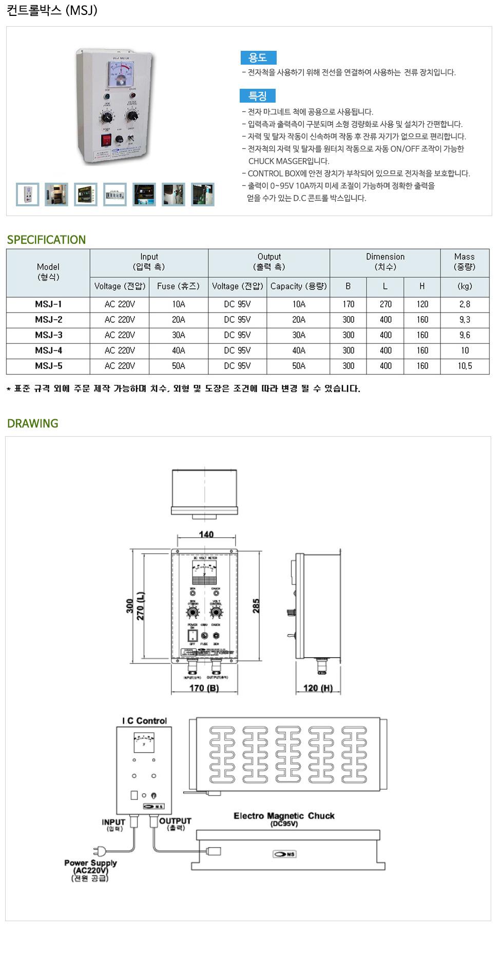(주)명성마그네트 컨트롤 박스 MSJ-Series