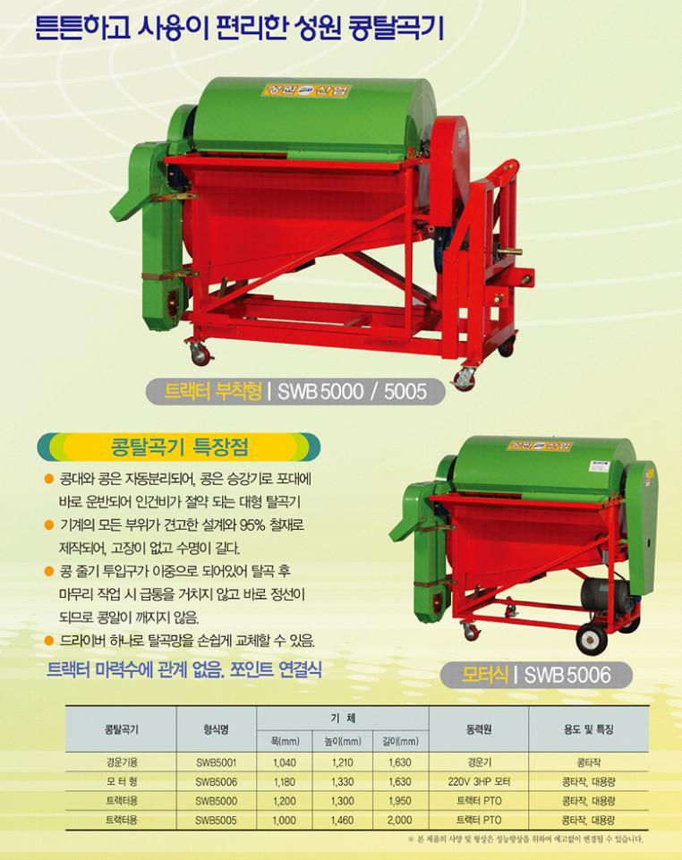 (유)성원산업 콩탈곡기 SWB-5001/5006/5000/5005