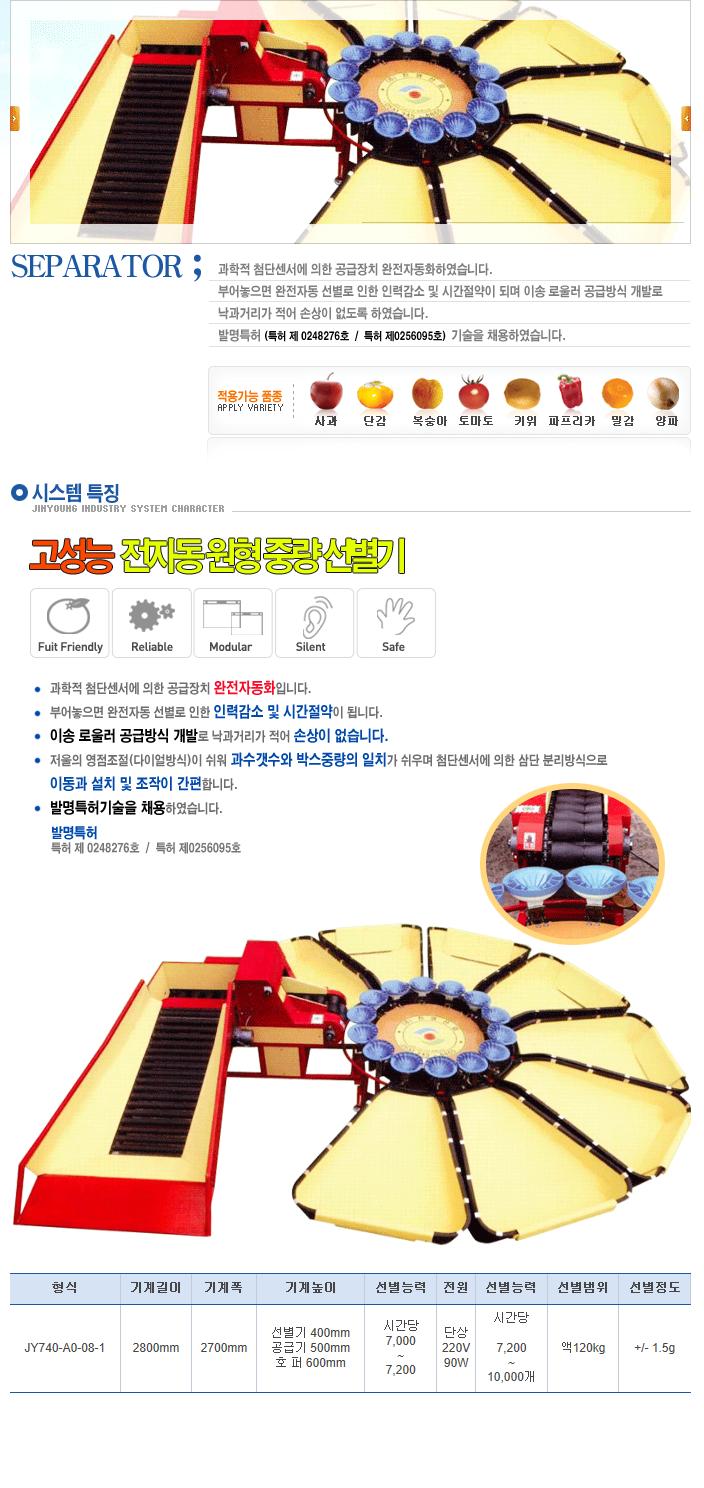 (주)진영산업 전자동 원형 선별기 JY740-A0-08-1