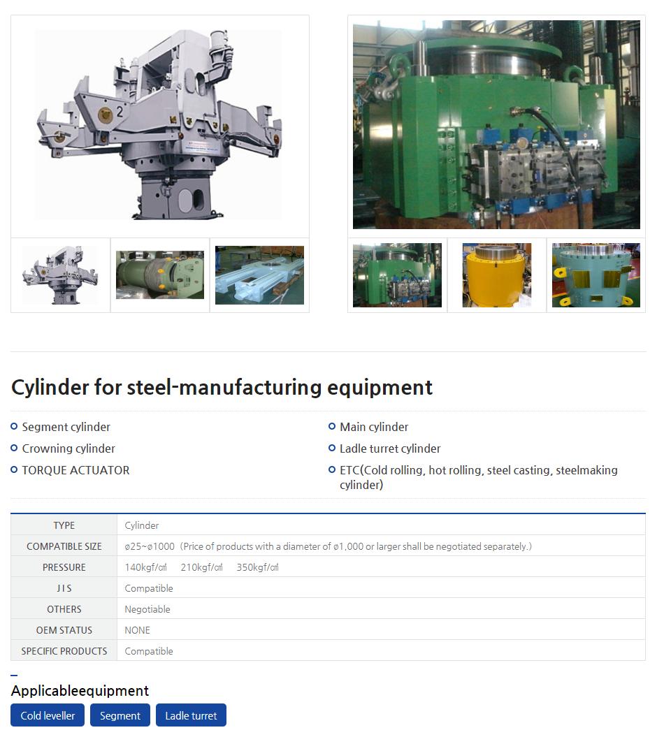 CYSKO Cylinder for steel-manufacturing equipment