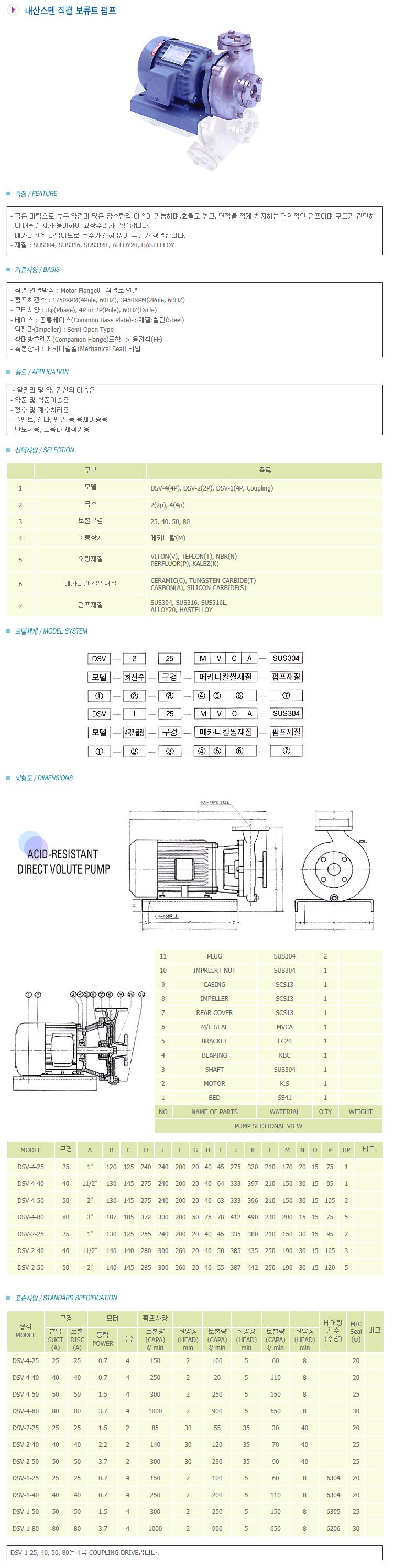 새안펌프공업 내산스텐 직결 볼류트 펌프 DSV-Series