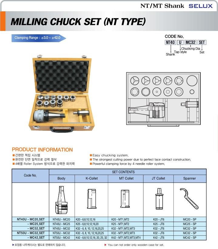 (주)세광세록스 NT Milling Chuck Set NT-MC-Set-Series