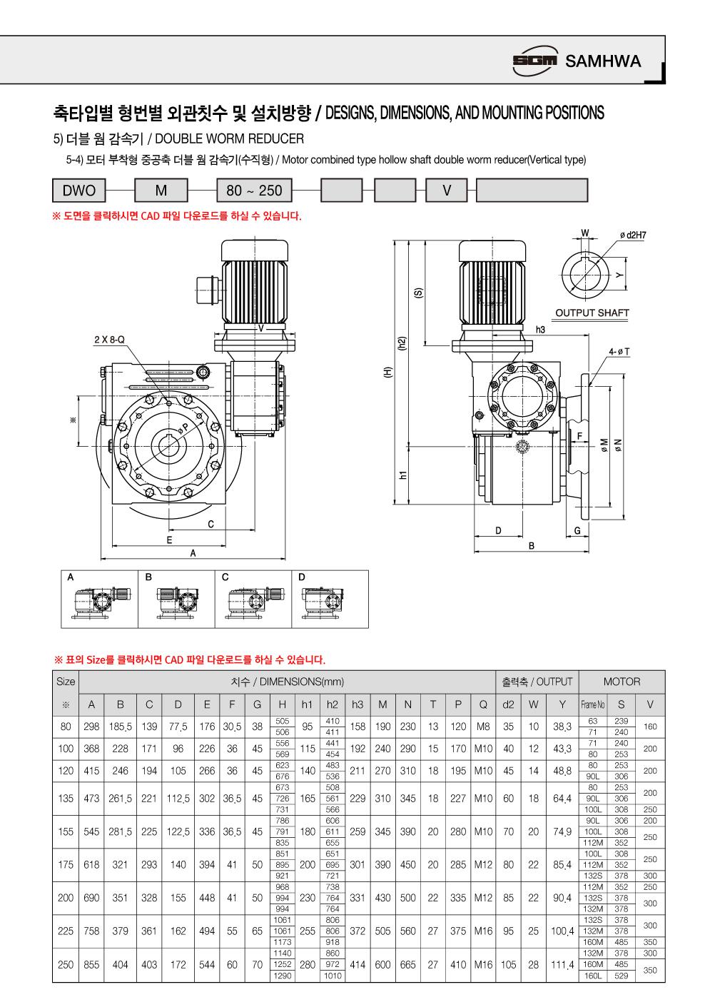 (주)삼화감속기 모터 부착형 중실축 더블 웜 감속기 (수직)