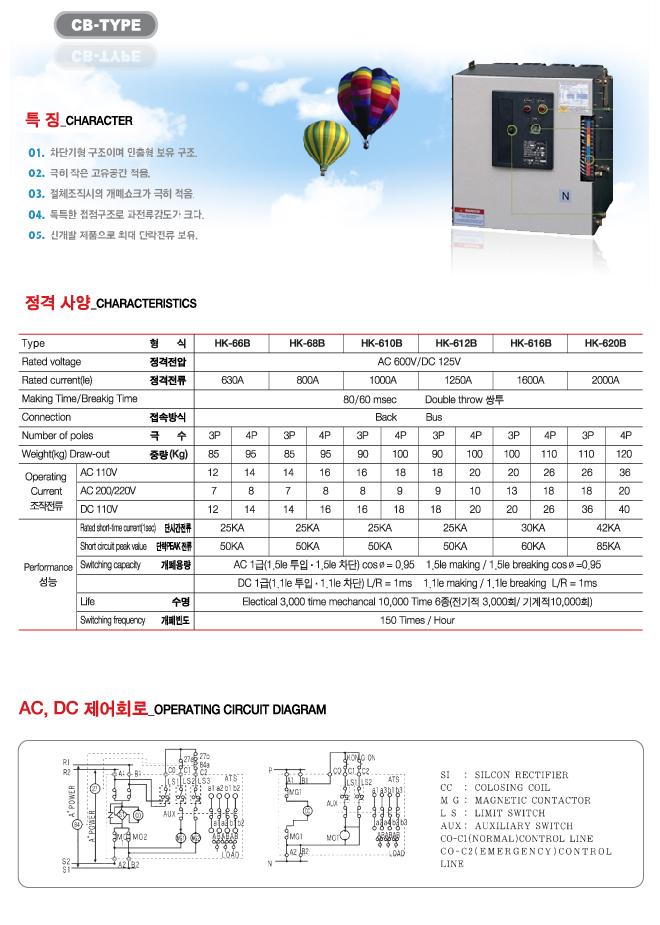 한광전기공업(주) 자동절제스위치 CB Type 3
