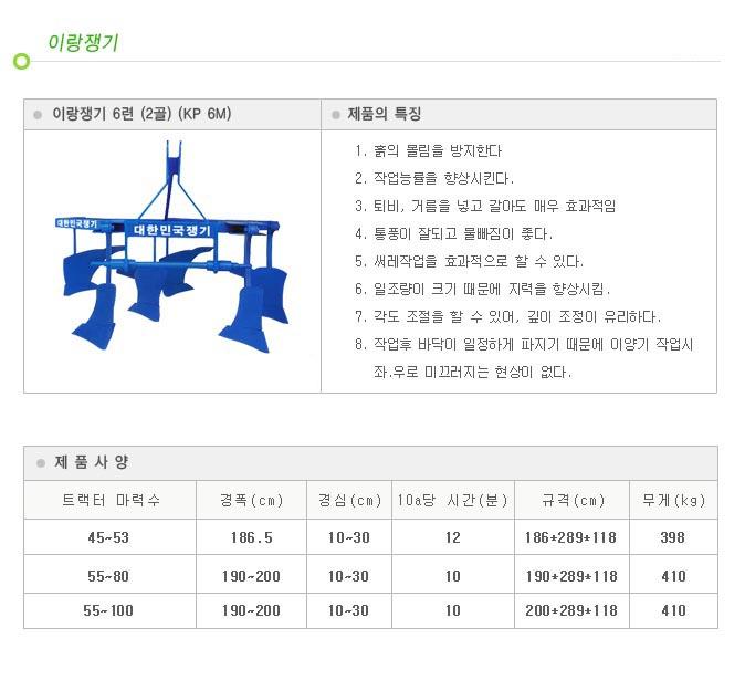 대한민국쟁기 6련 (2골) KP 6M