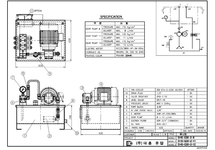 (주)대흥유압 표준형 DHS-G30-2-8