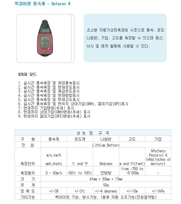 영전TNC 휴대 목걸이형 풍속계 XPLORER 2/3/4