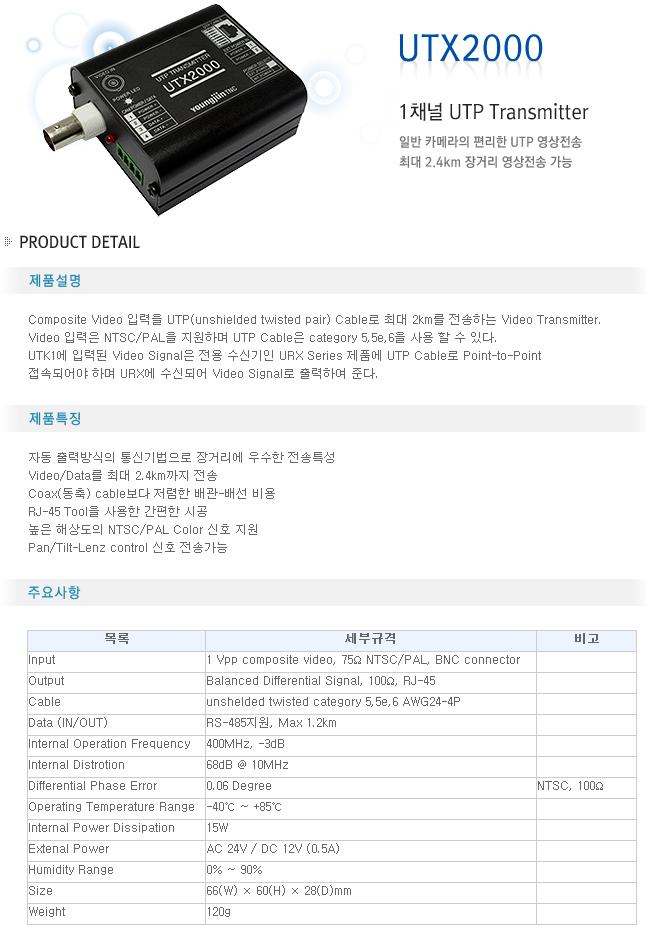 영전TNC 1채널 UTP Transmitter UTX2000