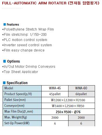 세왕오토팩(주) 전자동 암랩핑기 WMA-45/60