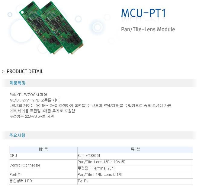 영전TNC Pan / Tile - Lens Module MCU-PT1