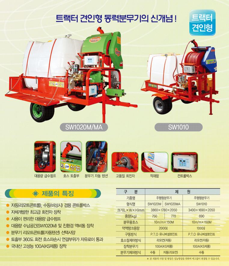 (유)성원산업 트랙터견인형 방제기 SW1020M/1020MA/1010