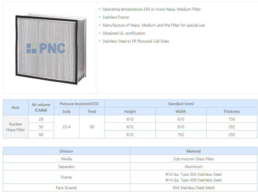 PNC Nuclear HEPA Filter