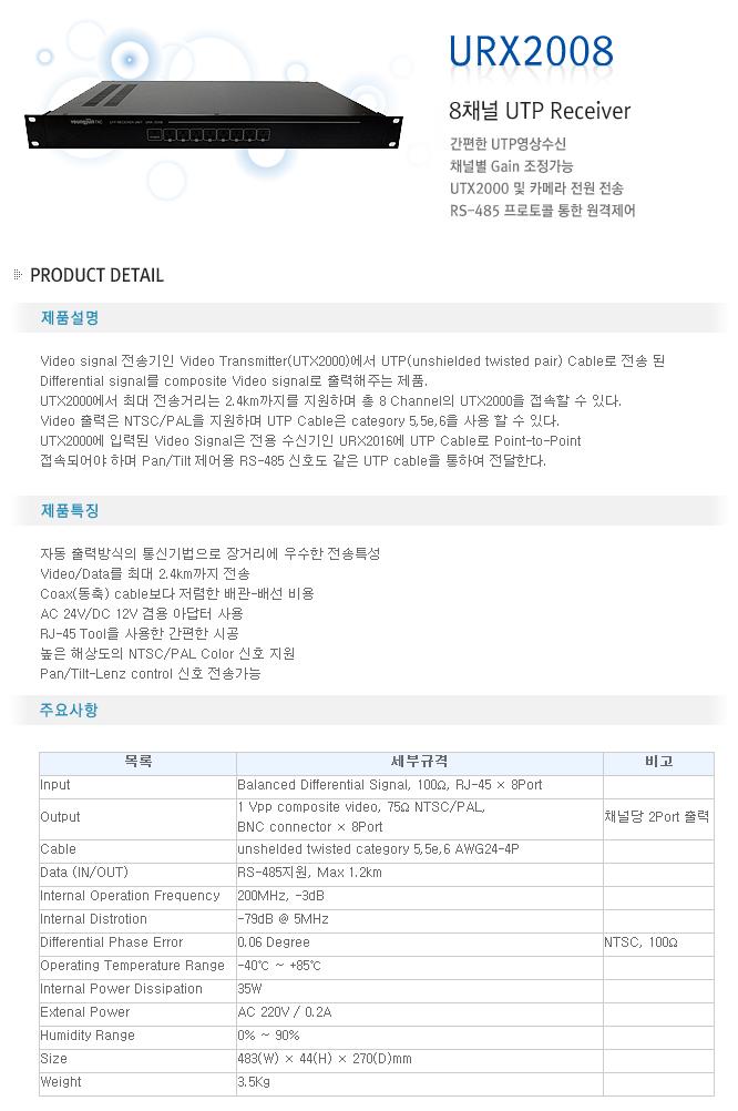 영전TNC 8채널 UTP Receiver URX2008
