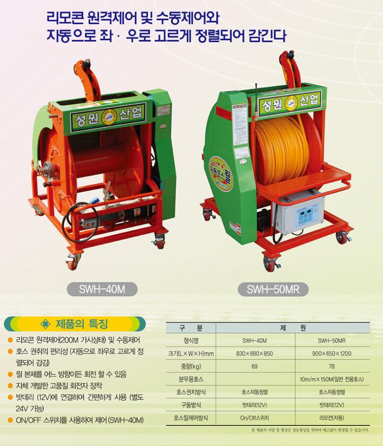(유)성원산업 자동호스릴 SWH-40M/50MR