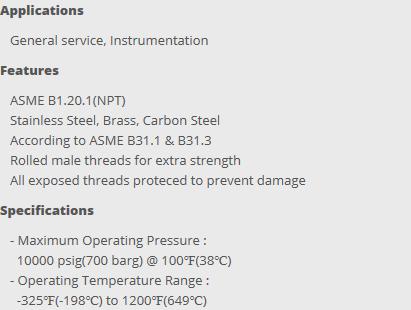 HY-LOK Instrument Thread & Weld Fittings