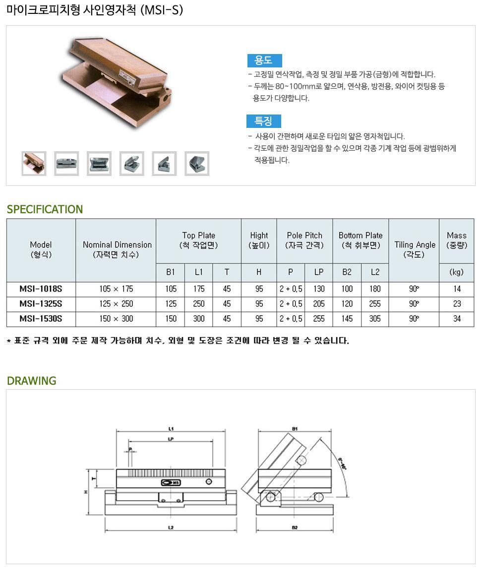 (주)명성마그네트 마이크로피치형 사인영자척 MSI-S-Series