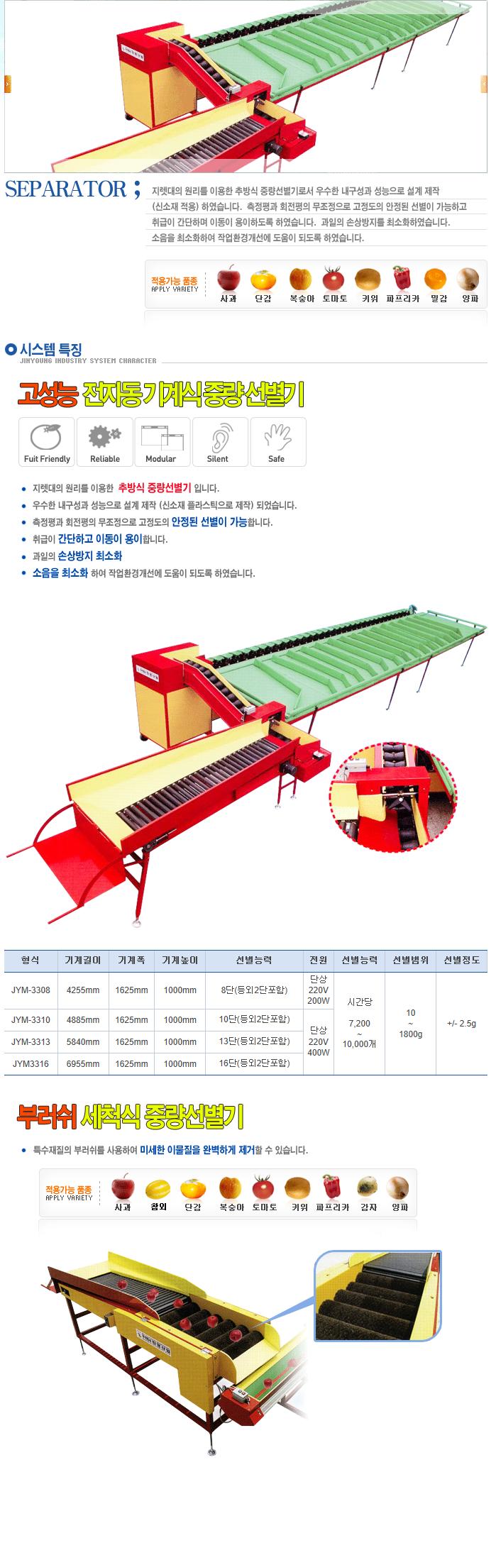 (주)진영산업 기계식 선별기 JYM-Series