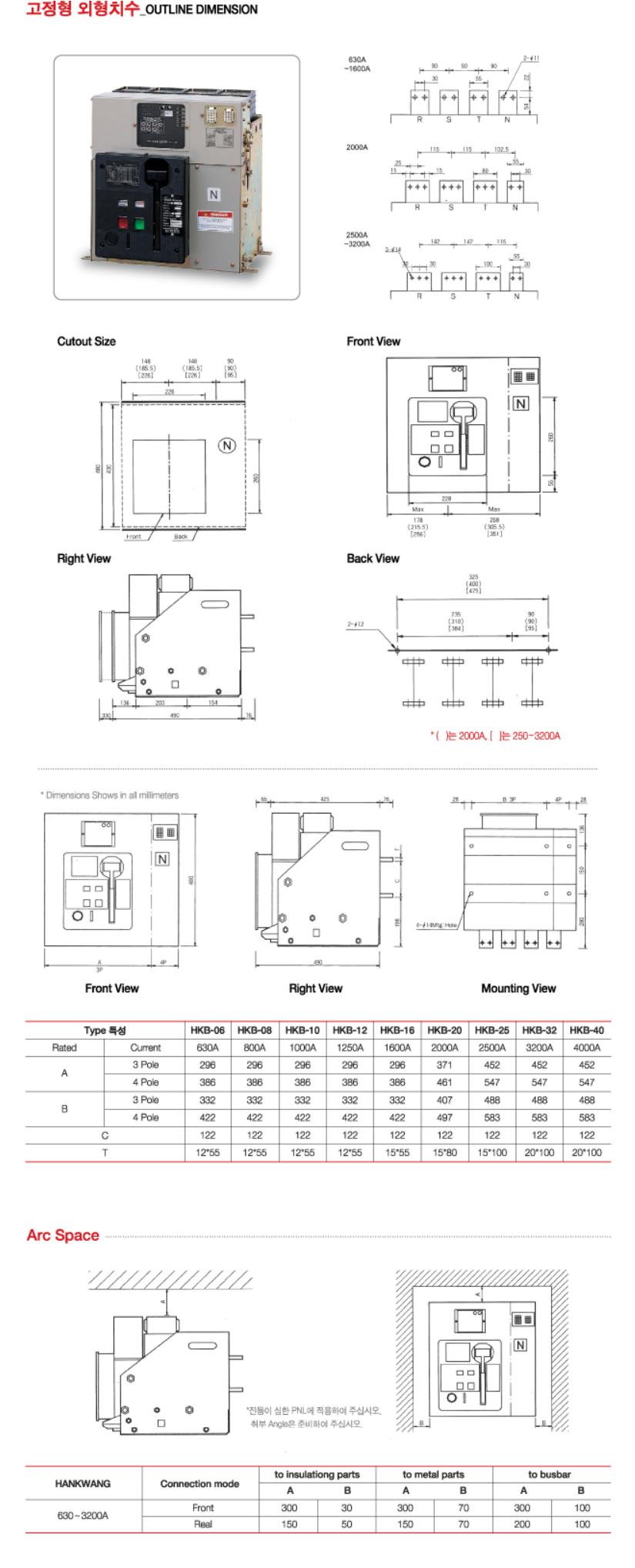 한광전기공업(주) 고정형 외형치수  1
