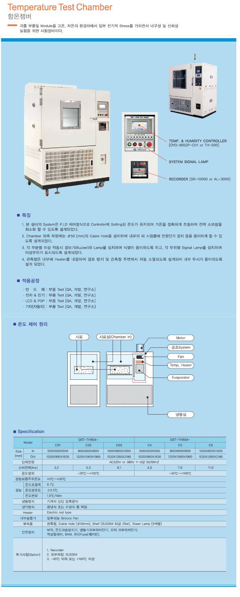 (주)오성에스티 항온챔버 OST-THB04-C Series