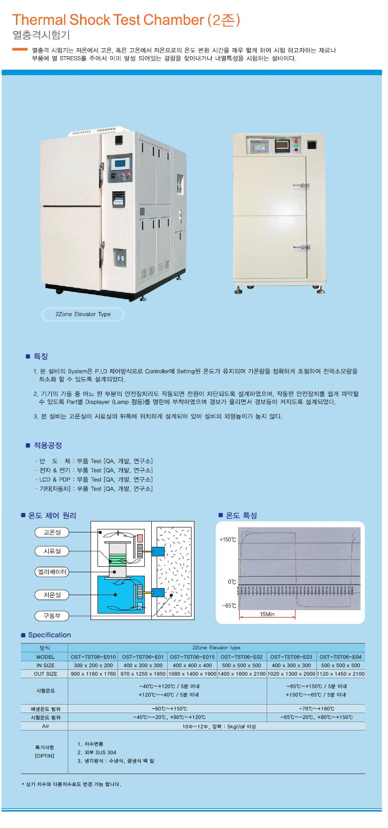 (주)오성에스티 열충격시험기 (2존) OST-TST06-E Series