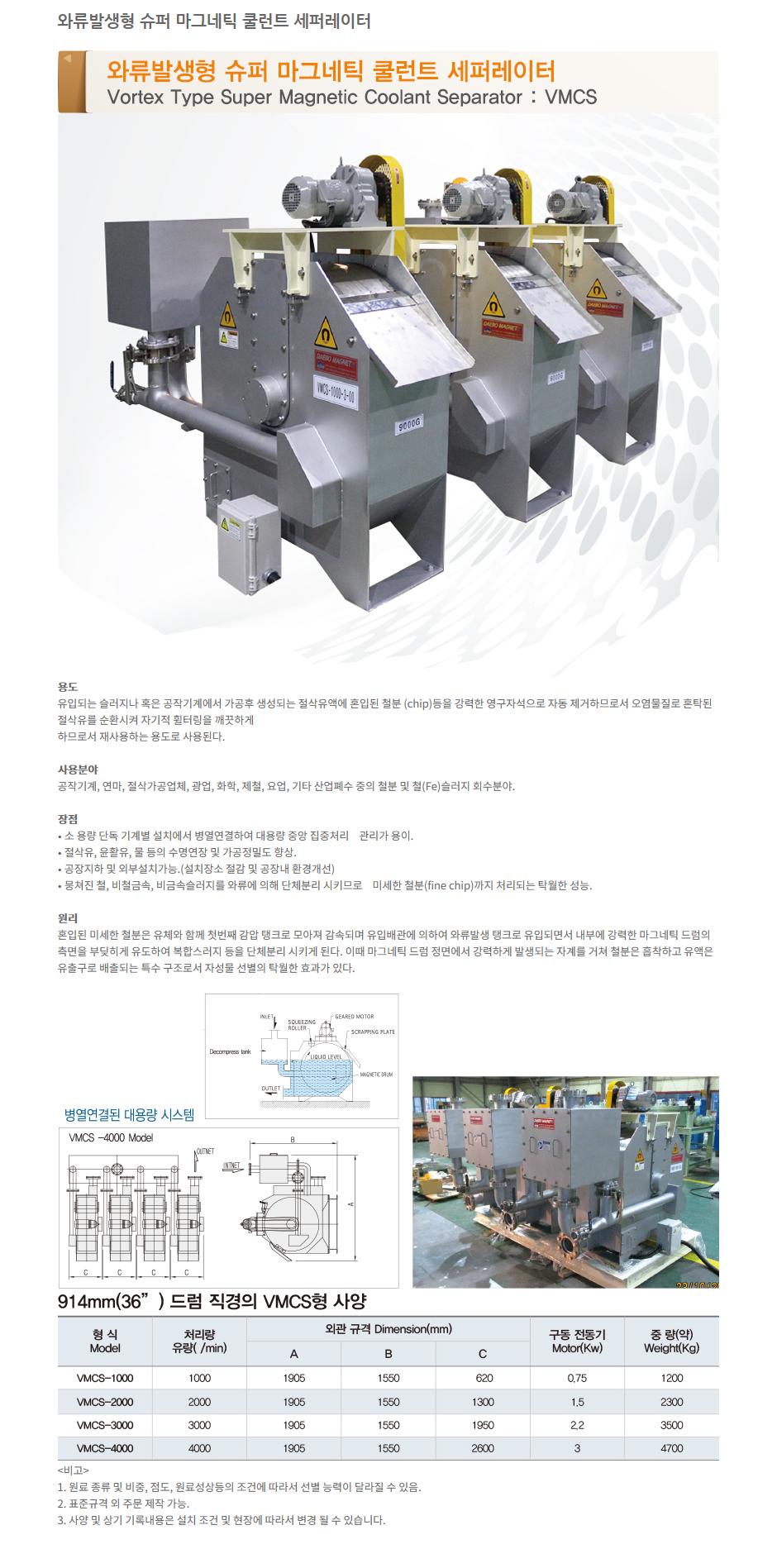 (주)대보마그네틱 와류발생형 슈퍼 마그네틱 쿨런트 세퍼레이터 VMCS