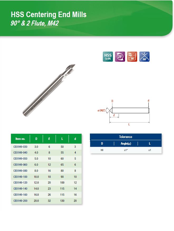 DYC Total Tools HSS Centering End Mills 90° & 2 Flute, M42 EC01H9 Series