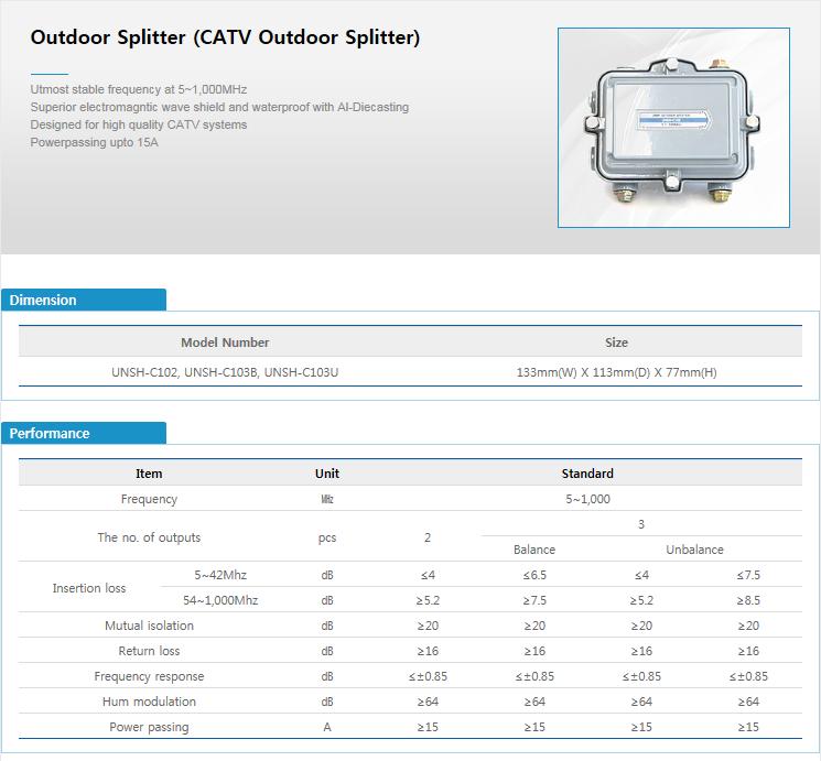 ES-TECH International Outdoor Splitter UNSH-C102/C103B/C103U