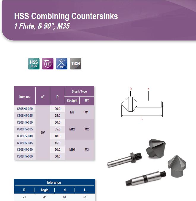 DYC Total Tools HSS Combining Countersinks 1 Flute, & 90°, M35 CS08H5 Series