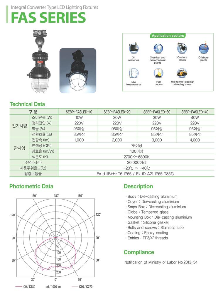 Samik Explosi Onproof Elxctric LED Explosion-Proof Lighting FAS Series