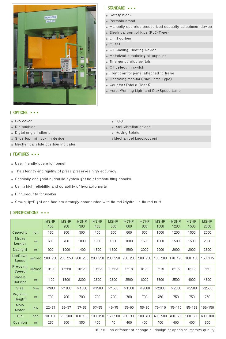 Moosong Machinery Hydraulic Press MSHP-Series