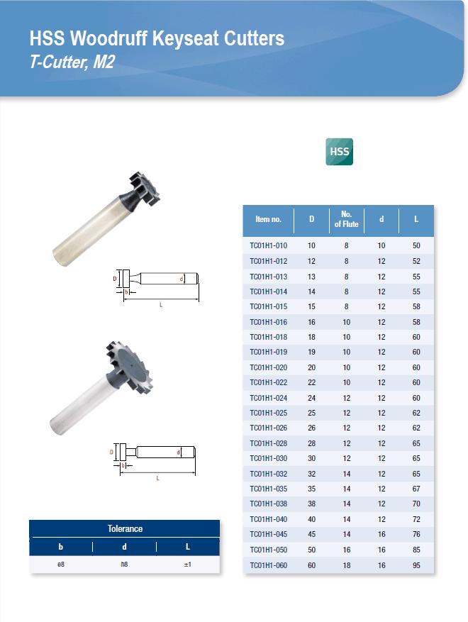 DYC Total Tools HSS Woodruff Keyseat Cutters TC01H1 Series