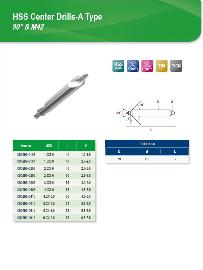 DYC Total Tools HSS Center Drills-A Type 90° & M42 CD02H9 Series