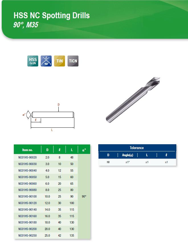 DYC Total Tools HSS NC Spotting Drills 90°, M35 NC01H5 Series